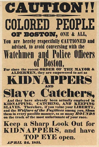 Vintage Flyer Cautioning Colored People to Beware of Slave Catchers